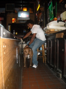 Dex behind the bar at the Barbary Coast